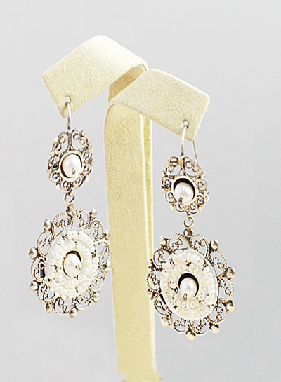 Sterling Silver And Freshwater Pearl Drop Mexican Earrings