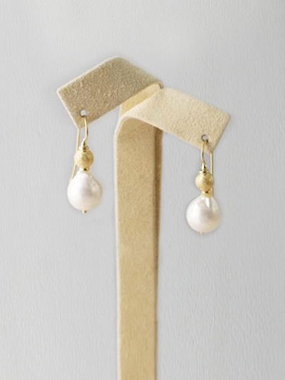Italian Earrings with 18K Gold Ball and Pearl on 18K Gold french ...