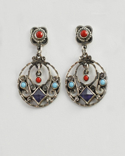 mexican earrings traditional mexican earrings mexican mexico small sterling silver 5054